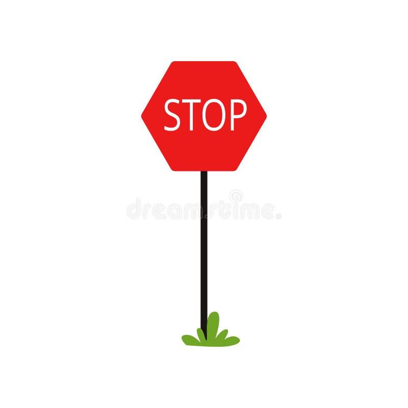 Εικονίδιο κινούμενων σχεδίων του κόκκινου σημαδιού κυκλοφορίας με τη στάση λέξης Η κίνηση χωρίς παύση είναι απαγορευμένη Επίπεδο  διανυσματική απεικόνιση