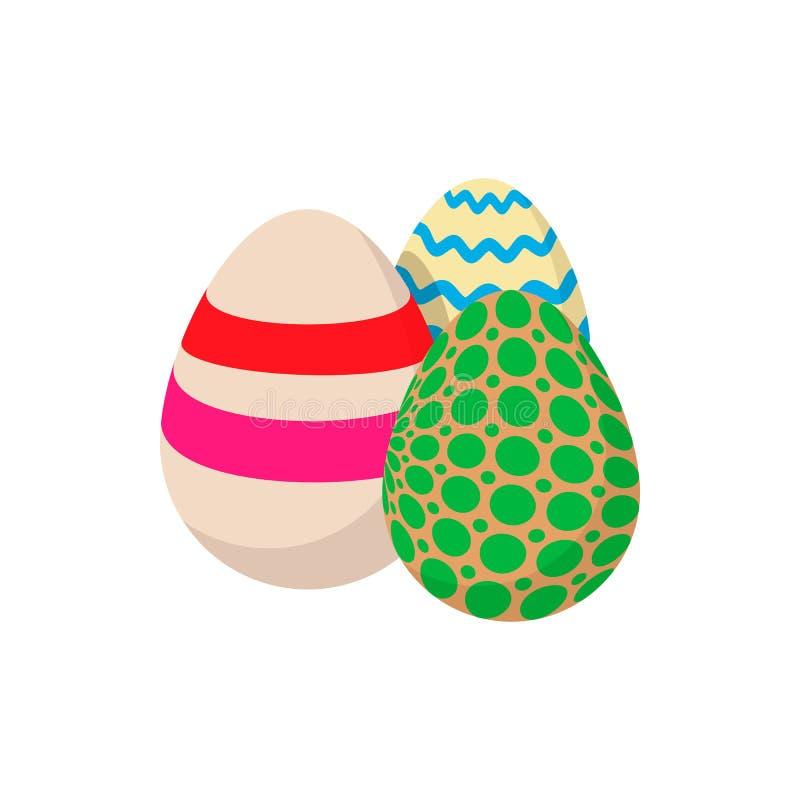 Εικονίδιο κινούμενων σχεδίων τριών ζωηρόχρωμο αυγών Πάσχας διανυσματική απεικόνιση