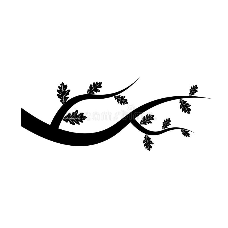 Εικονίδιο κλάδων δέντρων με τα φύλλα στο άσπρο υπόβαθρο Καθιερώνον τη μόδα επίπεδο ύφος για το γραφικό σχέδιο, λογότυπο, ιστοχώρο διανυσματική απεικόνιση