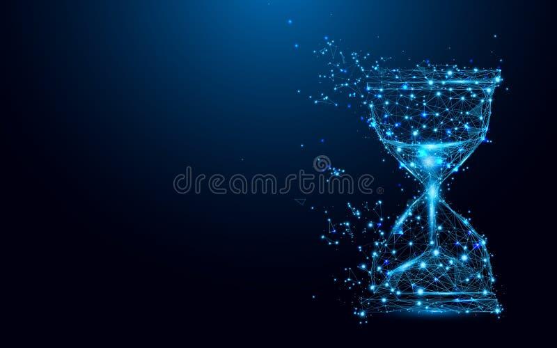 Εικονίδιο κλεψυδρών από τις γραμμές και τα τρίγωνα, συνδέοντας δίκτυο σημείου στο μπλε υπόβαθρο διανυσματική απεικόνιση