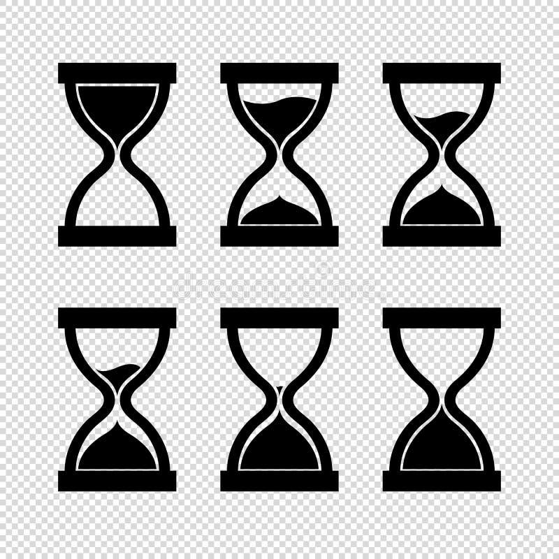 Εικονίδιο κλεψυδρών καθορισμένο - μαύρη διανυσματική απεικόνιση - που απομονώνεται στο διαφανές υπόβαθρο ελεύθερη απεικόνιση δικαιώματος