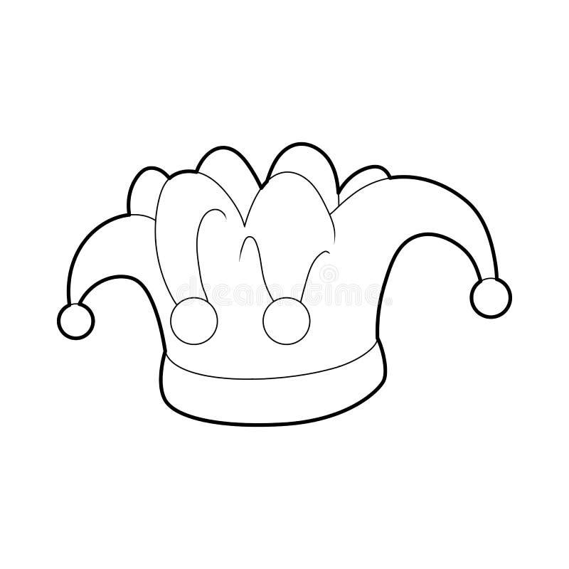 Εικονίδιο κλόουν καπέλων, ύφος περιλήψεων απεικόνιση αποθεμάτων