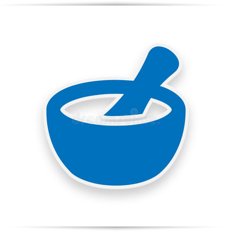 Εικονίδιο κονιάματος και γουδοχεριών Μπλε σχέδιο εικονιδίων απεικόνιση αποθεμάτων