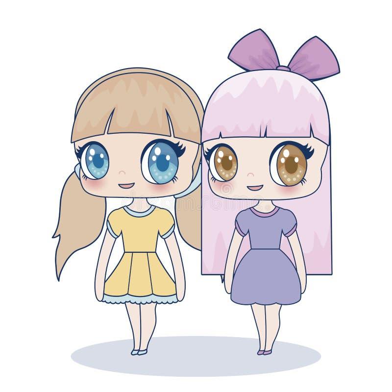 Εικονίδιο κοριτσιών Kawaii ελεύθερη απεικόνιση δικαιώματος