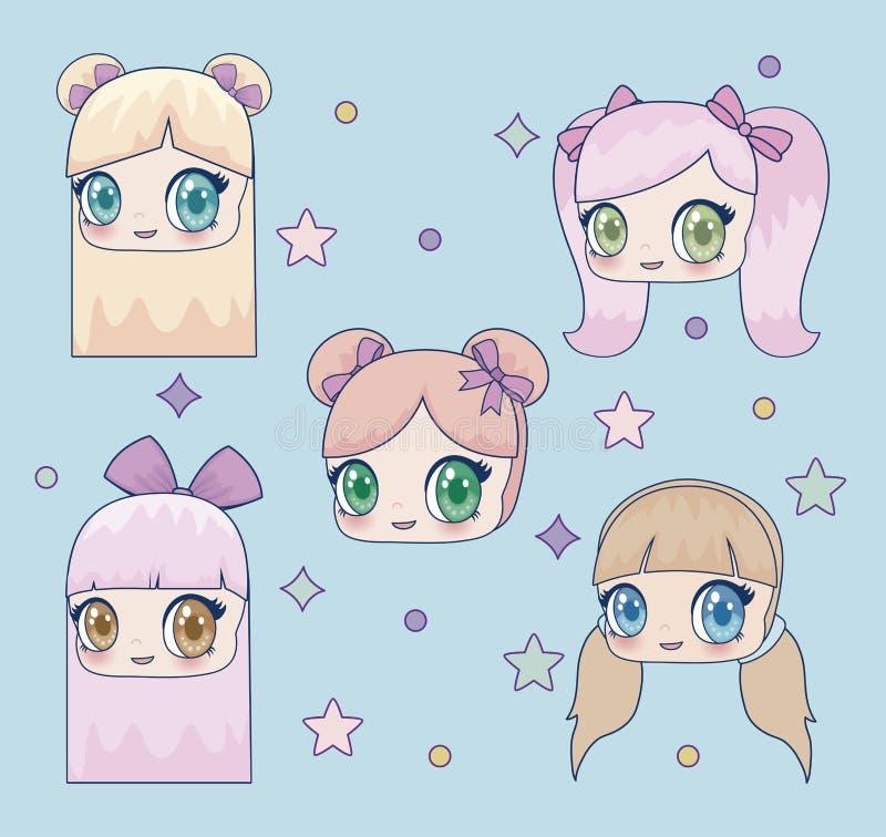 Εικονίδιο κοριτσιών Kawaii διανυσματική απεικόνιση