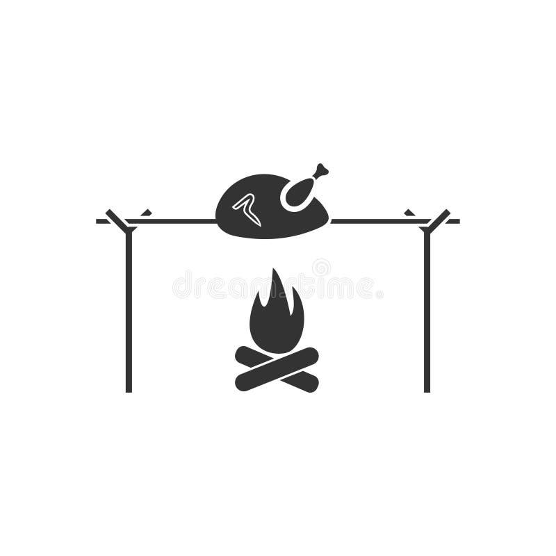Εικονίδιο κοτόπουλου οβελιδίων επίπεδο διανυσματική απεικόνιση