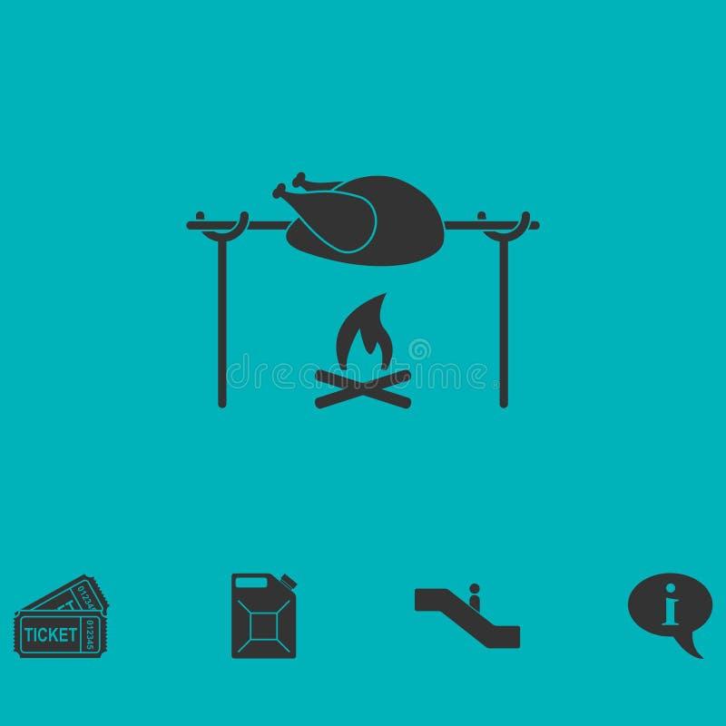 Εικονίδιο κοτόπουλου οβελιδίων επίπεδο ελεύθερη απεικόνιση δικαιώματος