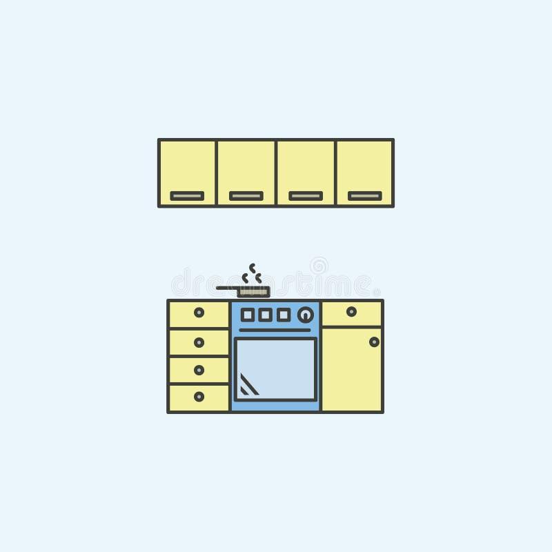 Εικονίδιο κουζινών Στοιχείο του εικονιδίου σπιτικού για την κινητούς έννοια και τον Ιστό apps Το χρωματισμένο εικονίδιο κουζινών  ελεύθερη απεικόνιση δικαιώματος