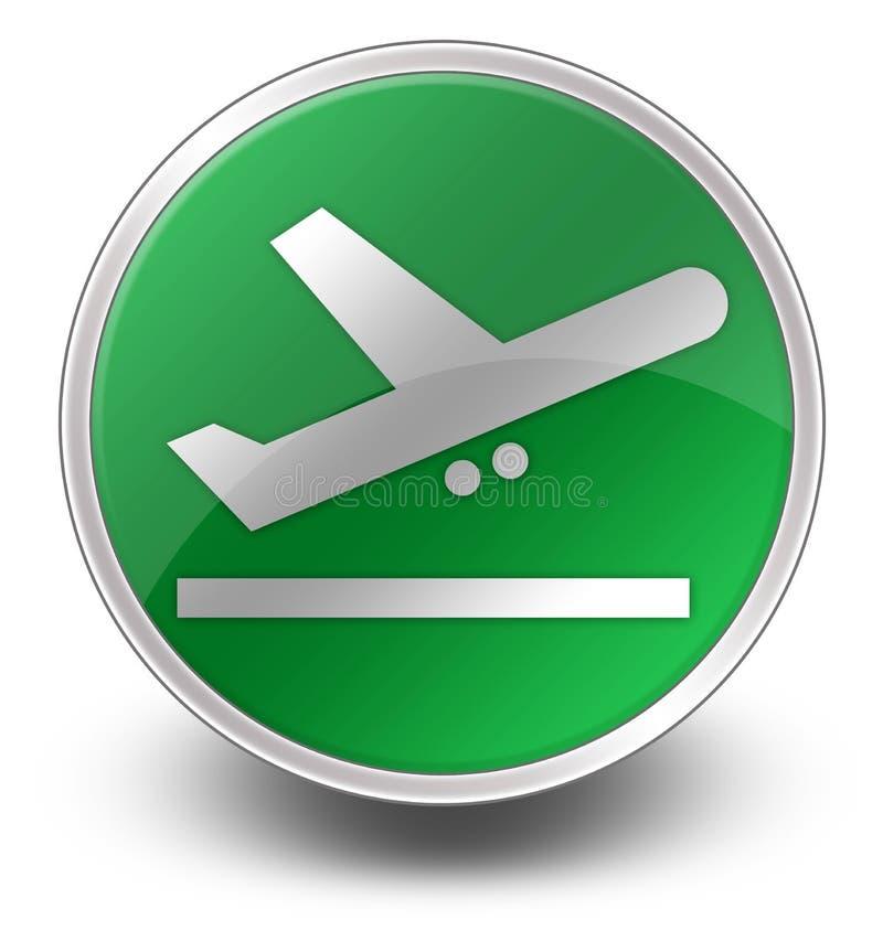 Εικονίδιο, κουμπί, αναχωρήσεις αερολιμένων εικονογραμμάτων διανυσματική απεικόνιση