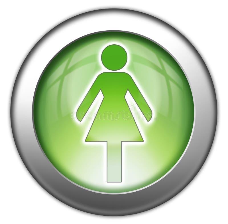 Εικονίδιο, κουμπί, γυναικείος χώρος ανάπαυσης εικονογραμμάτων ελεύθερη απεικόνιση δικαιώματος