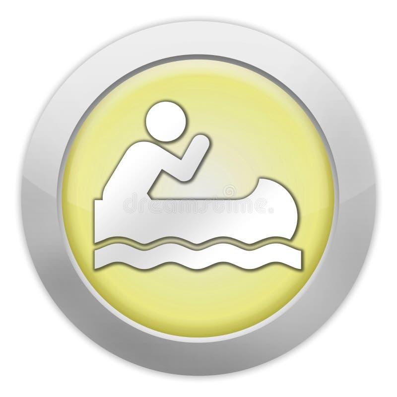 Εικονίδιο, κουμπί, κωπηλασία σε κανό εικονογραμμάτων απεικόνιση αποθεμάτων