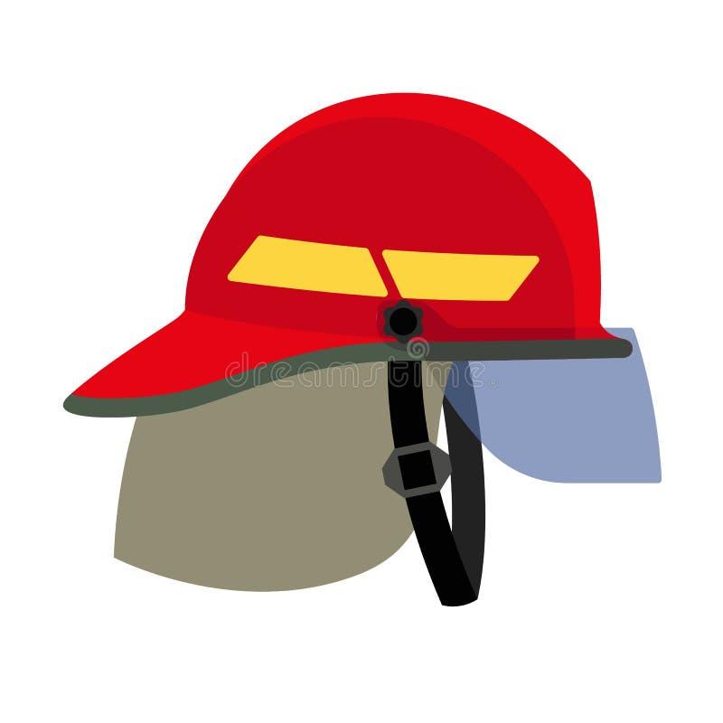 Εικονίδιο κρανών πυροσβεστών, επίπεδο ύφος απεικόνιση αποθεμάτων