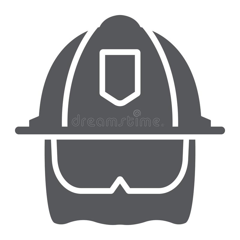 Εικονίδιο κρανών πυροσβεστών glyph, εξοπλισμός και πυρκαγιά, επικεφαλής σημάδι προστασίας, διανυσματική γραφική παράσταση, ένα στ διανυσματική απεικόνιση