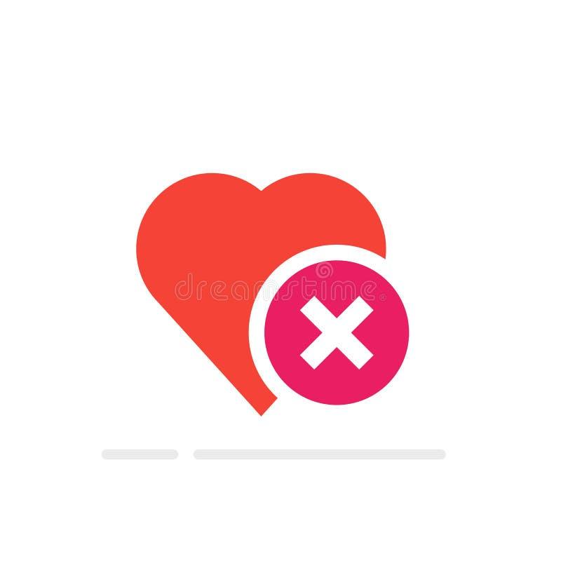 Εικονίδιο κροτώνων καρδιών, υγιής καρδιά με το διαγώνιο σύμβολο Διανυσματική απεικόνιση, επίπεδα κινούμενα σχέδια Ιδέα της άρνηση διανυσματική απεικόνιση
