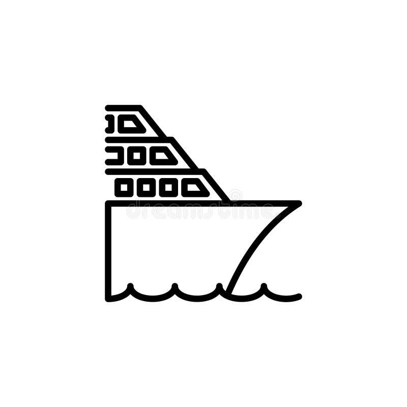 Εικονίδιο κρουαζιερόπλοιων διανυσματική απεικόνιση εικονιδίων ύφους γραμμών ελεύθερη απεικόνιση δικαιώματος