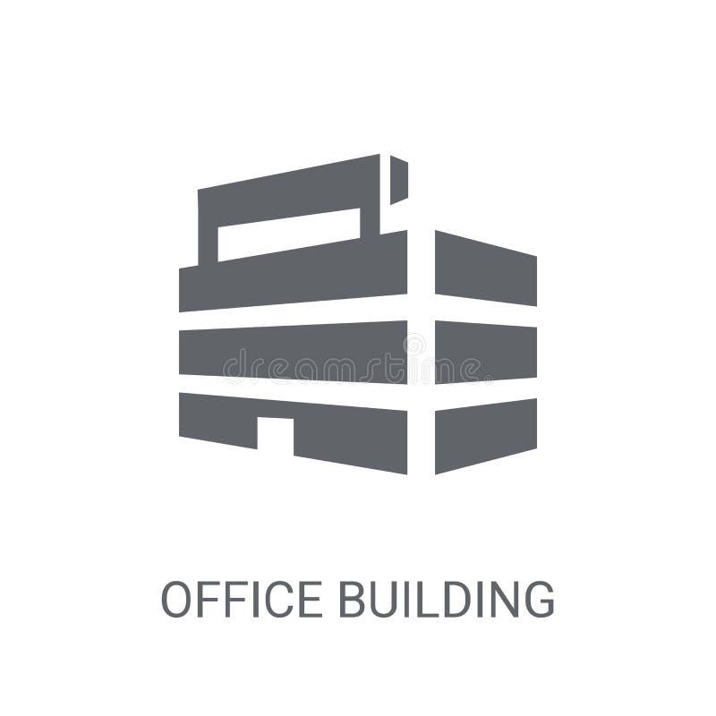 Εικονίδιο κτιρίου γραφείων Καθιερώνουσα τη μόδα έννοια λογότυπων κτιρίου γραφείων στο whi διανυσματική απεικόνιση