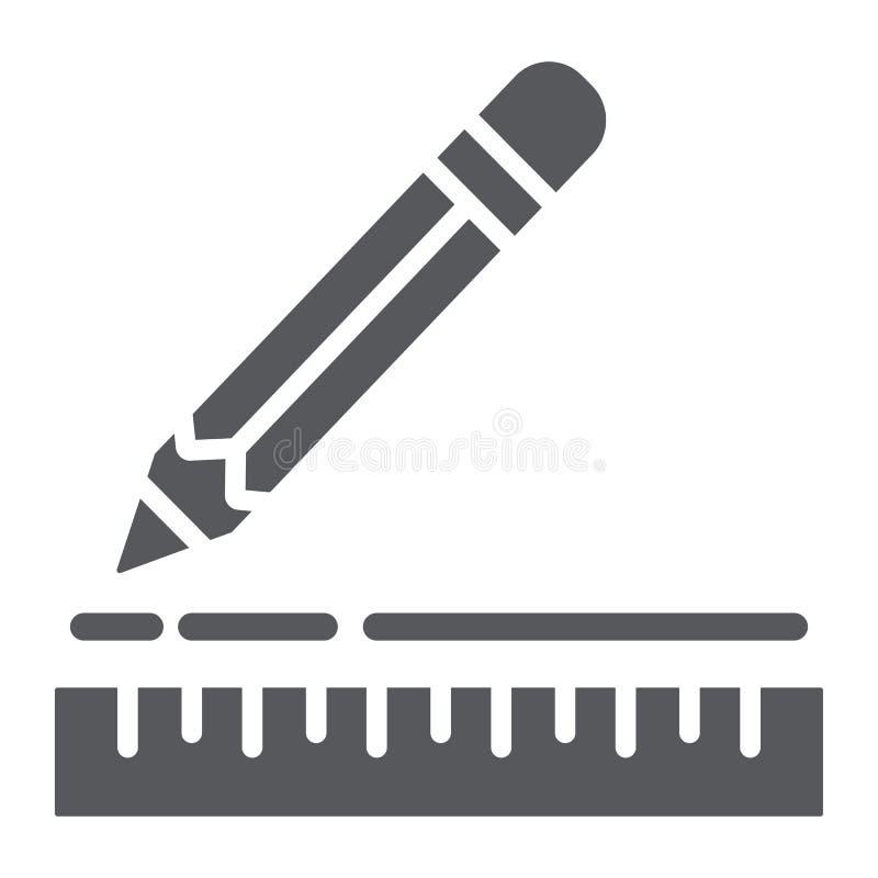 Εικονίδιο κυβερνητών και μολυβιών glyph, όργανο και σχολείο, που σύρουν το σημάδι εξοπλισμού, διανυσματική γραφική παράσταση, ένα διανυσματική απεικόνιση