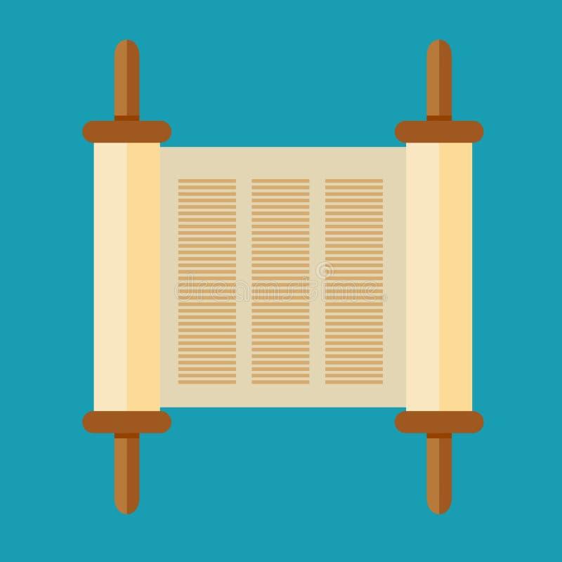 Εικονίδιο κυλίνδρων Torah στο επίπεδο ύφος διανυσματική απεικόνιση