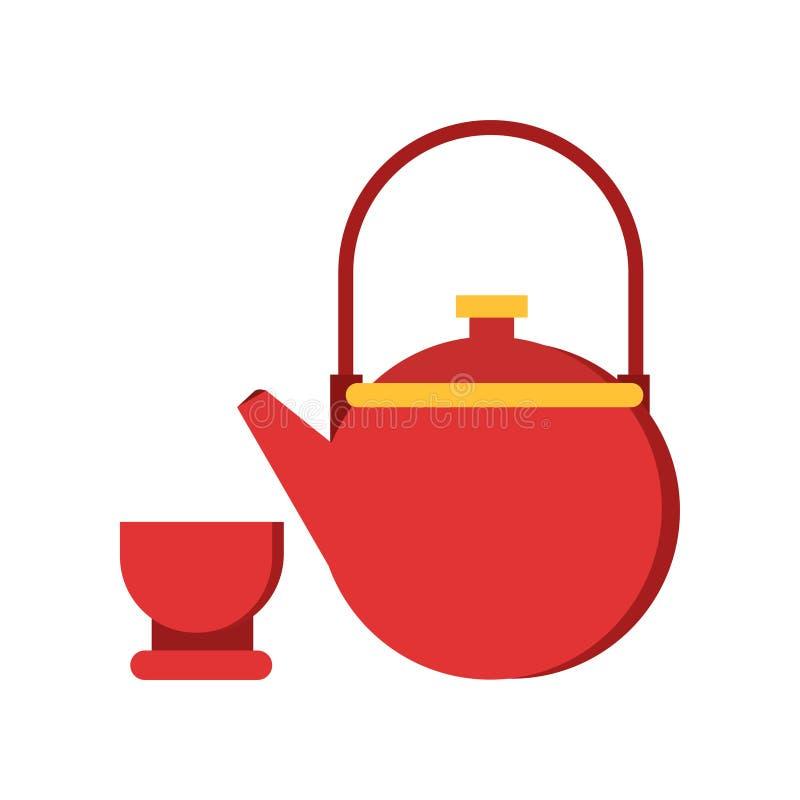 Εικονίδιο κόκκινων teapot και του φλυτζανιού Επιτραπέζιο σκεύος για την τελετή τσαγιού παραδοσιακού κινέζικου Ασιατική έννοια πολ διανυσματική απεικόνιση