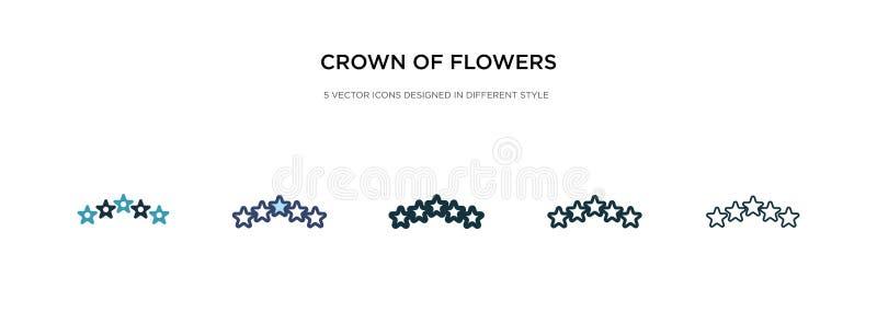 Εικονίδιο κόμης λουλουδιών σε διαφορετική εμφάνιση διανυσματικού στυλ δύο έγχρωμες και μαύρες στεφάνες από διανυσματικά εικονίδια διανυσματική απεικόνιση