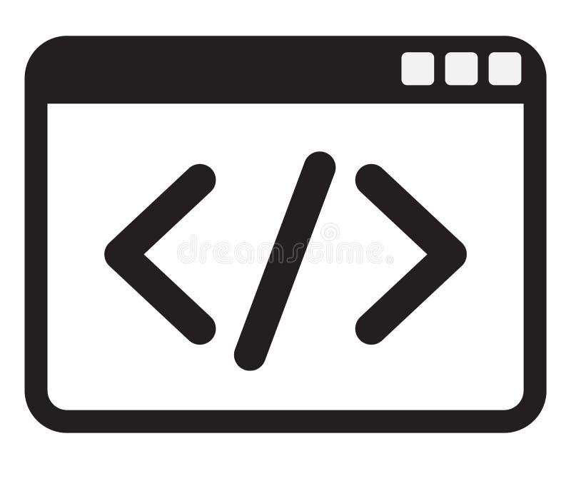 Εικονίδιο κώδικα στο άσπρο υπόβαθρο απεικόνιση αποθεμάτων