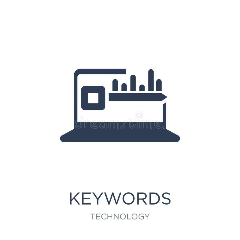 Εικονίδιο λέξεων κλειδιών Καθιερώνον τη μόδα επίπεδο διανυσματικό εικονίδιο λέξεων κλειδιών στο άσπρο backgro απεικόνιση αποθεμάτων
