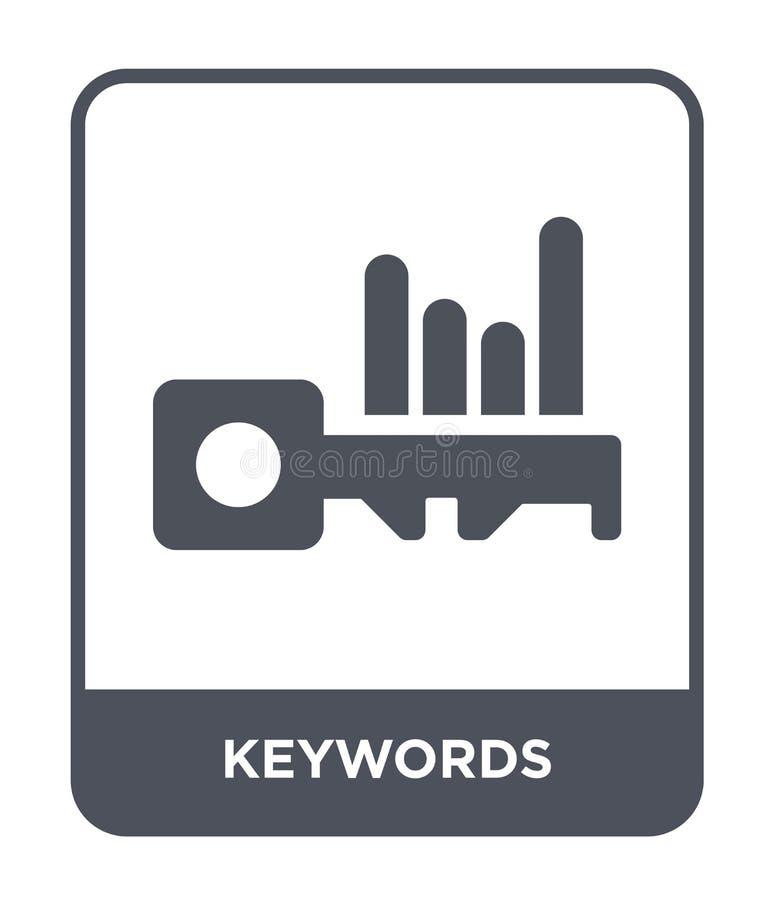 εικονίδιο λέξεων κλειδιών στο καθιερώνον τη μόδα ύφος σχεδίου εικονίδιο λέξεων κλειδιών που απομονώνεται στο άσπρο υπόβαθρο απλό  απεικόνιση αποθεμάτων