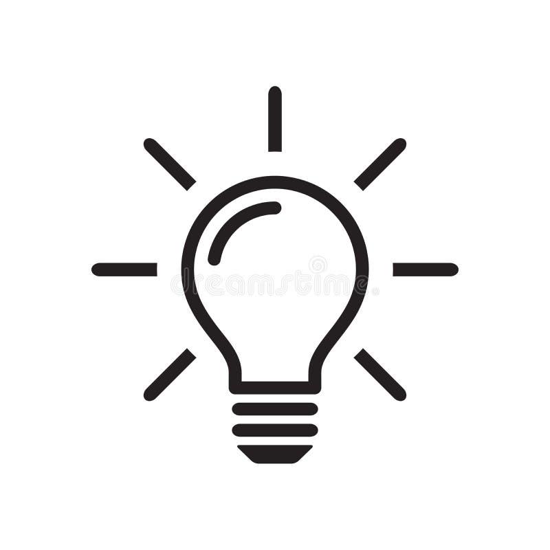 Εικονίδιο λαμπών φωτός, σημάδι ιδέας, ο Μαύρος που απομονώνεται στο άσπρο υπόβαθρο, διανυσματική απεικόνιση ελεύθερη απεικόνιση δικαιώματος