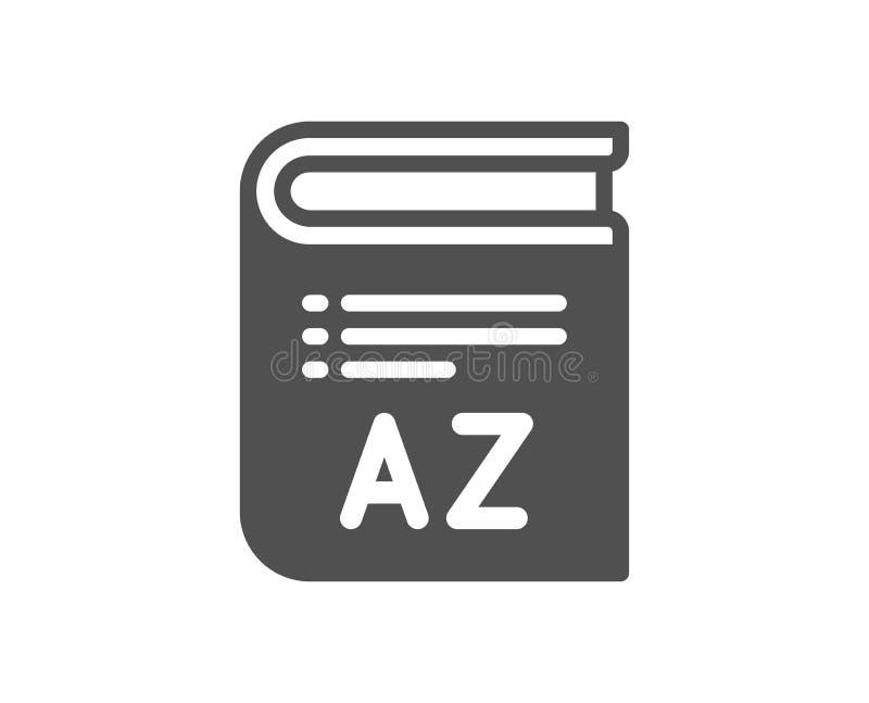 Εικονίδιο λεξιλογίου Σημάδι γλωσσαρίων βιβλίων διάνυσμα διανυσματική απεικόνιση