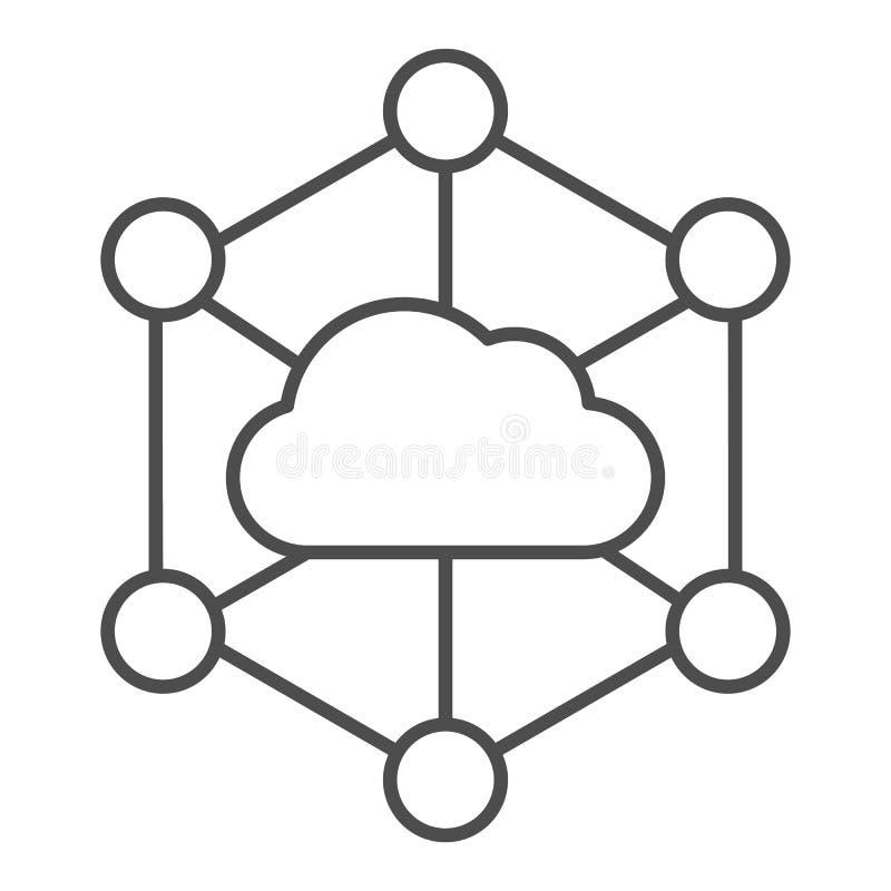 Εικονίδιο λεπτής γραμμής cloud δεδομένων Εικόνα διανύσματος αποθήκευσης υπολογιστή απομονωμένη σε λευκό Σχεδίαση στυλ διάρθρωσης  διανυσματική απεικόνιση