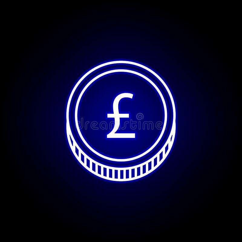 εικονίδιο λιβρών νομισμάτων στο ύφος νέου Στοιχείο της απεικόνισης χρηματοδότησης Το εικονίδιο σημαδιών και συμβόλων μπορεί να χρ ελεύθερη απεικόνιση δικαιώματος