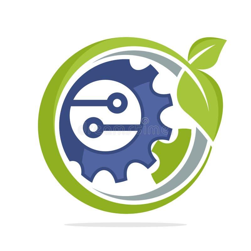 Εικονίδιο λογότυπων για την πράσινη επιχείρηση τεχνολογίας, φιλική προς το περιβάλλον ελεύθερη απεικόνιση δικαιώματος