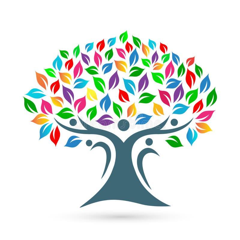 Εικονίδιο λογότυπων οικογενειακών δέντρων στο άσπρο υπόβαθρο διανυσματική απεικόνιση