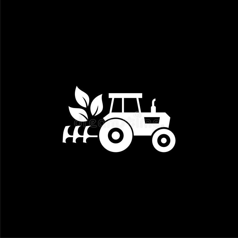 Εικονίδιο λογότυπων τρακτέρ ή λογότυπο στο σκοτεινό υπόβαθρο ελεύθερη απεικόνιση δικαιώματος