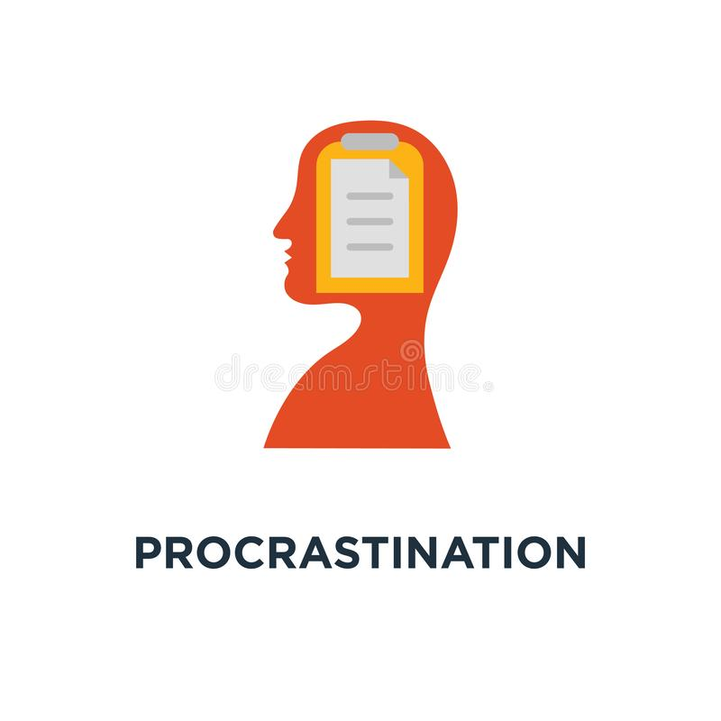 εικονίδιο λύσης αναβλητικότητας ημερήσια διάταξη προγράμματος εργασίας, προτεραιότητα στόχου, γνώση αναθεώρησης, σχέδιο συμβόλων  διανυσματική απεικόνιση