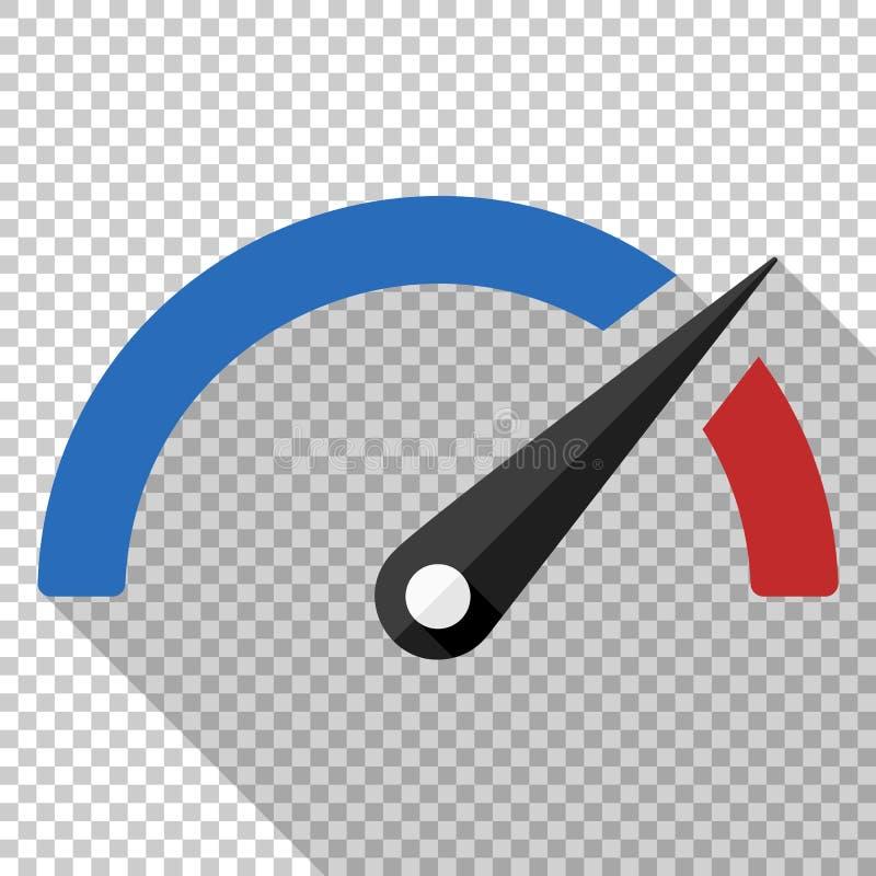 Εικονίδιο μέτρησης απόδοσης στο επίπεδο ύφος στο διαφανές υπόβαθρο διανυσματική απεικόνιση