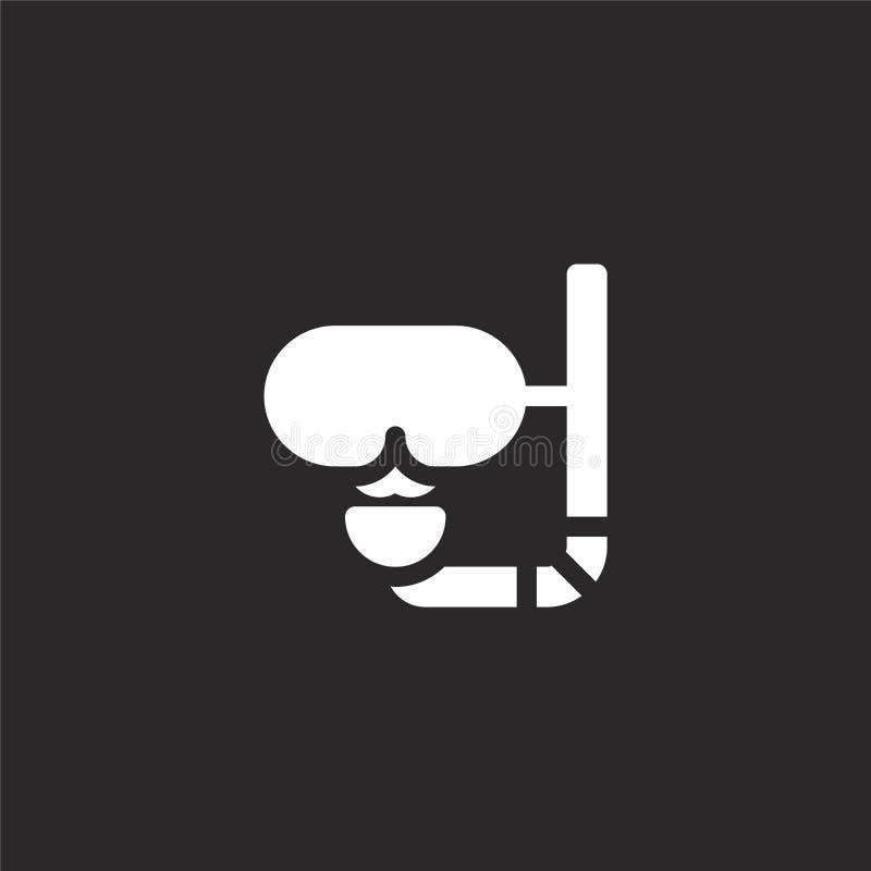 εικονίδιο μασκών κατάδυσης Γεμισμένο εικονίδιο μασκών κατάδυσης για το σχέδιο ιστοχώρου και κινητός, app ανάπτυξη εικονίδιο μασκώ απεικόνιση αποθεμάτων