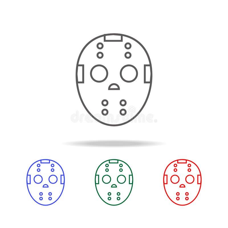 Εικονίδιο μασκών χόκεϋ Στοιχεία αποκριών στα πολυ χρωματισμένα εικονίδια Γραφικό εικονίδιο σχεδίου εξαιρετικής ποιότητας Απλό εικ διανυσματική απεικόνιση