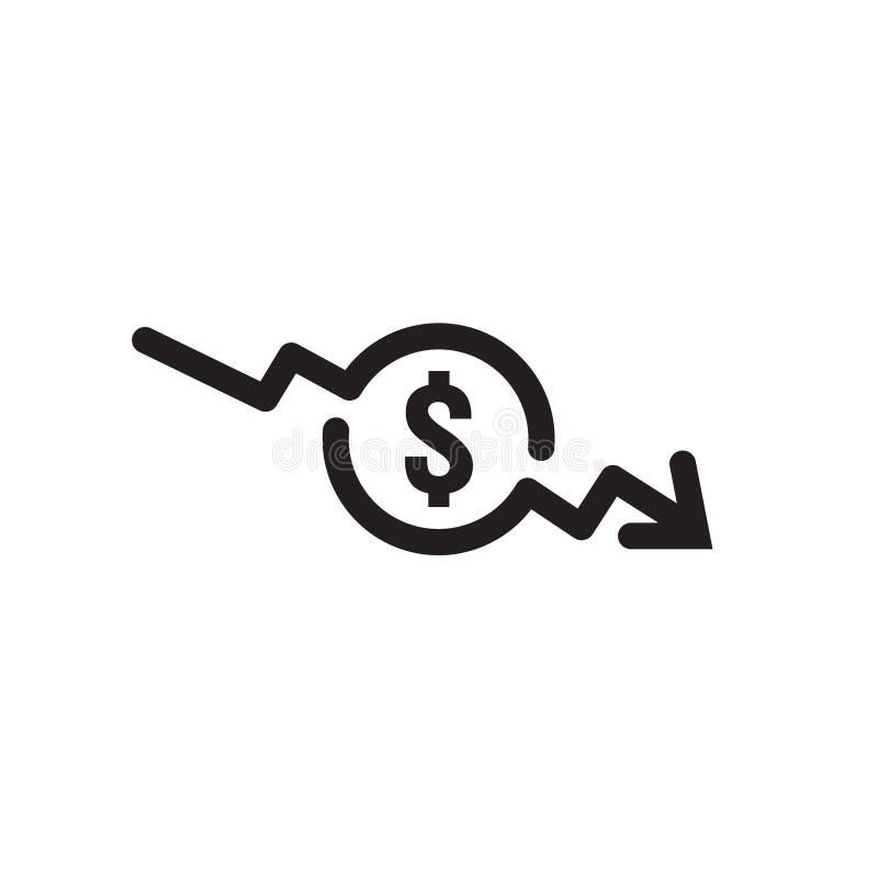 εικονίδιο μείωσης βελών δολαρίων Σύμβολο βελών χρημάτων τεντώνοντας αυξανόμενη πτώση πτώσης οικονομίας κάτω Χαμένη επιχείρηση μεί ελεύθερη απεικόνιση δικαιώματος