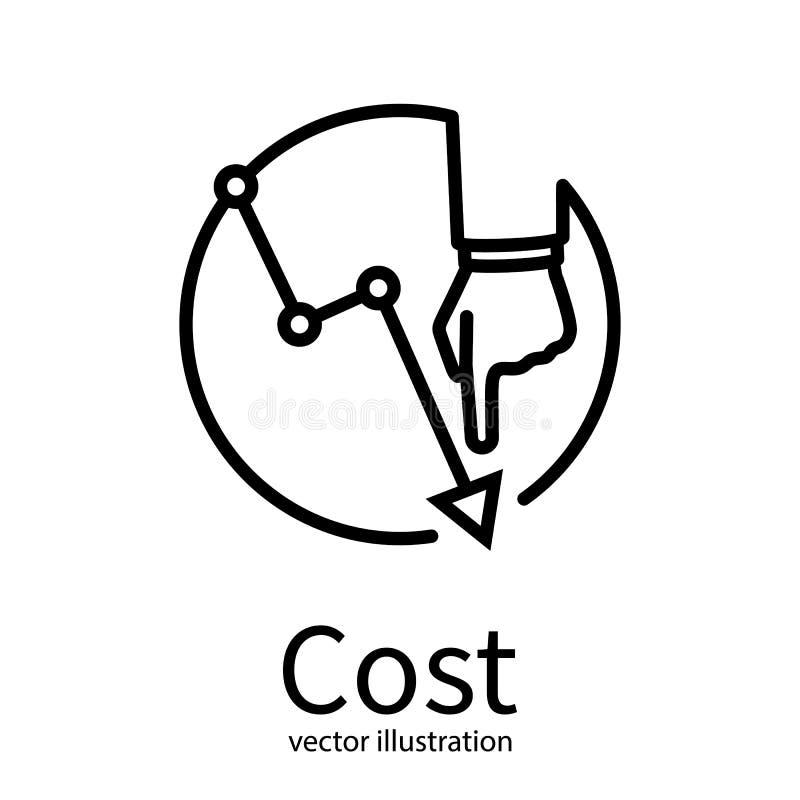 Εικονίδιο μείωσης του κόστους Κόστος κάτω από την έννοια απεικόνιση αποθεμάτων