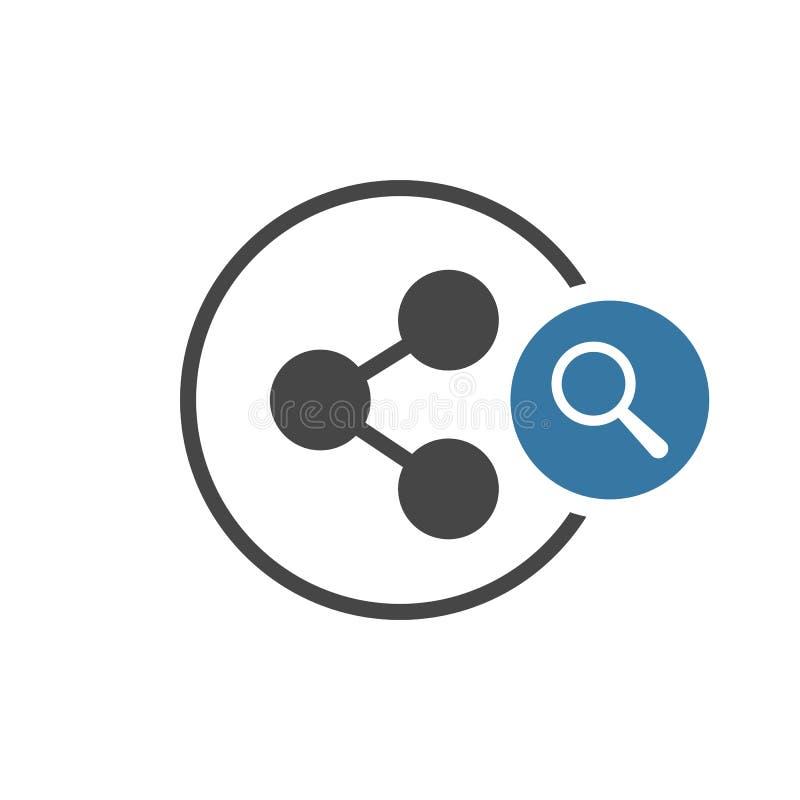 Εικονίδιο μεριδίου με το ερευνητικό σημάδι Το εικονίδιο μεριδίου και εξερευνά, βρίσκει, επιθεωρεί το σύμβολο ελεύθερη απεικόνιση δικαιώματος