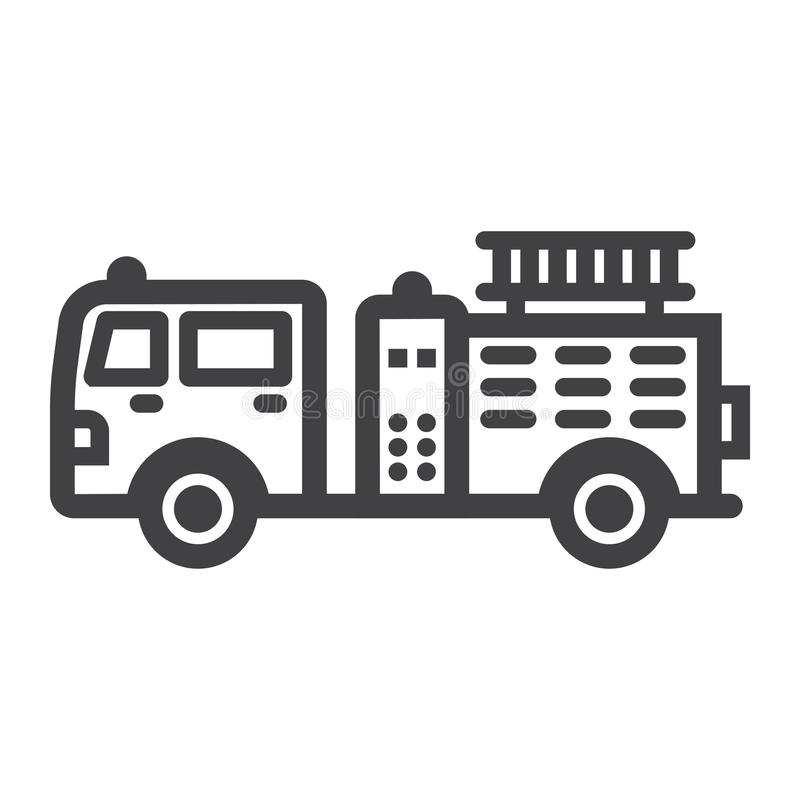 Εικονίδιο, μεταφορά και όχημα γραμμών πυροσβεστικών αντλιών διανυσματική απεικόνιση