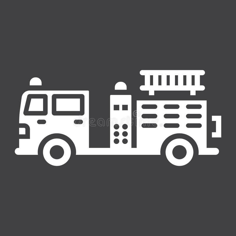 Εικονίδιο, μεταφορά και όχημα πυροσβεστικών αντλιών glyph απεικόνιση αποθεμάτων