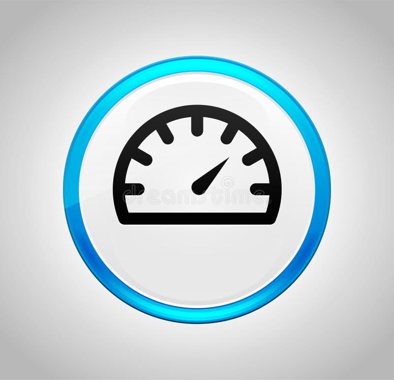 Εικονίδιο μετρητών ταχυμέτρων γύρω από το μπλε κουμπί ώθησης ελεύθερη απεικόνιση δικαιώματος