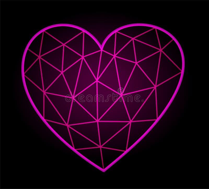 Εικονίδιο με τη λαμπρή ρόδινη χαμηλή πολυ μορφή καρδιών διανυσματική απεικόνιση