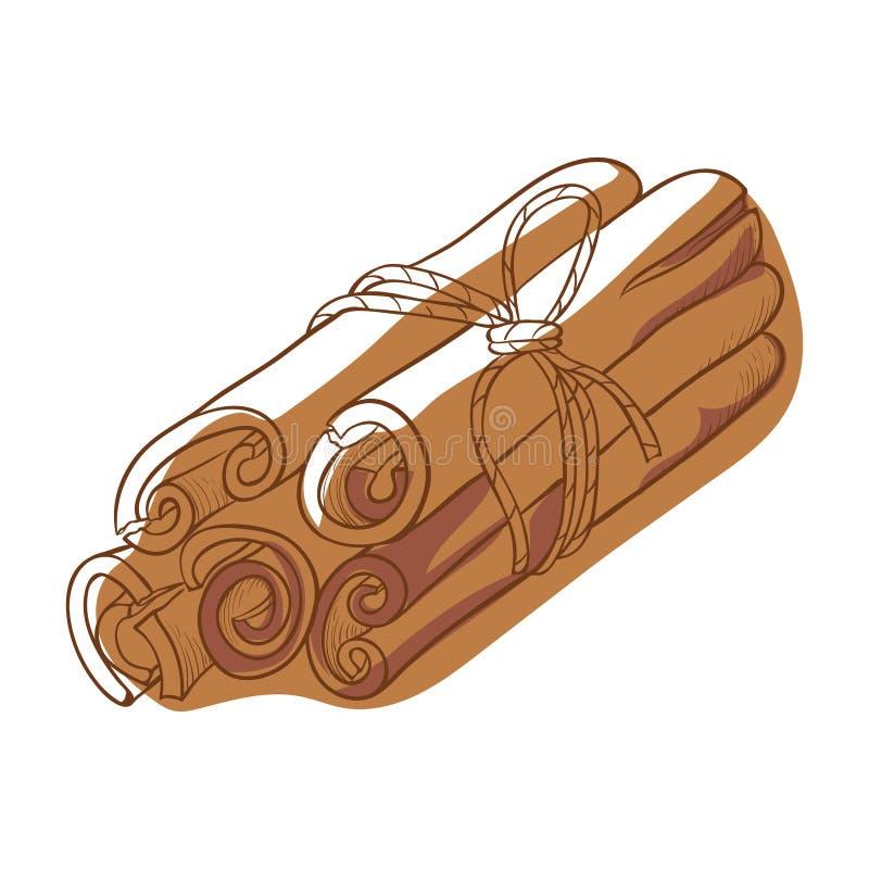 Εικονίδιο με το ραβδί κανέλας, φυσικό συστατικό για μαγείρεμα διανυσματική απεικόνιση