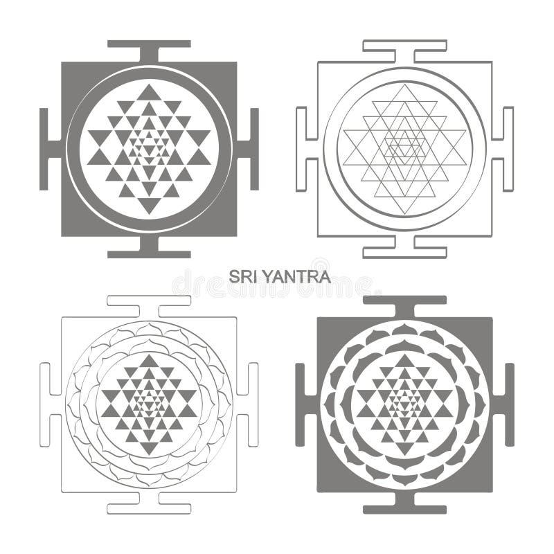 εικονίδιο με το σύμβολο Sri Yantra Hinduism διανυσματική απεικόνιση