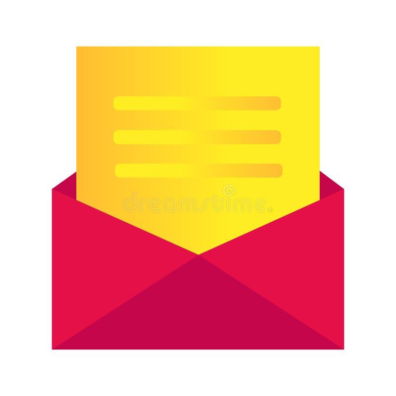 Εικονίδιο μηνυμάτων, απεικόνιση φακέλων - το διανυσματικό εικονίδιο ταχυδρομείου, στέλνει την επιστολή που απομονώνεται διανυσματική απεικόνιση