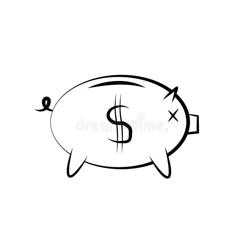 Εικονίδιο μιας piggy τράπεζας για την αποταμίευση χρημάτων διανυσματική απεικόνιση