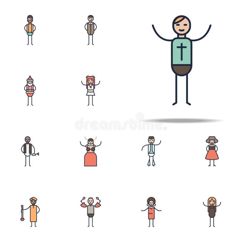 εικονίδιο μουσικών christion Γραμμικό μουσικό καθολικό εικονιδίων υφών που τίθεται για τον Ιστό και κινητό απεικόνιση αποθεμάτων